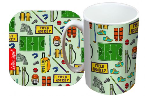 Selina-Jayne Field Hockey Limited Edition Designer Mug and Coaster Set